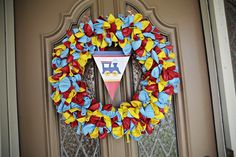 train 1st birthday | balloon wreath greeted guests to the party, and the printable banner ...