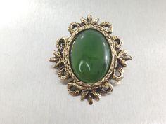 Holidays SALE Ornate Vintage Jade Brooch by TheOldJunkTrunk