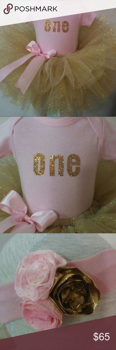 Custom first birthday tutu set This is a custom made, sewn tutu set. Baby pink onesie is available in sizes 6, 12, 18 and 24 months, with short or long sleeves. ONE design is hand made with golden Swarovski crystals. Gold glitter tutu is custom made according to your child's waist and waist to knee measurements. It includes a pin on pink satin bow. The third picture shows a coordinating shabby chic rosette hair band. It is available for an additional cost. Tutu Cuties Boutique Dresses