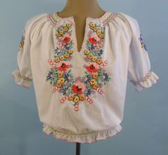 VINTAGE 1940S 50'S HAND EMBROIDERED PEASANT BLOUSE SHIRT TOP ETHNIC BOHO VTG 50S
