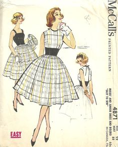 McCalls 4871 / / Vintage 50 s couture motif / / robe boléro / / taille 12 buste 32