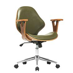 Porthos Home Lillian Mid-Back Leather Desk Chair Upholstery: Green Retro Office Chair, Rolling Office Chair, Mesh Office Chair, Home Office Chairs, Desk Chairs, Bar Chairs, Dining Chairs, Lounge Chairs, Loft Office