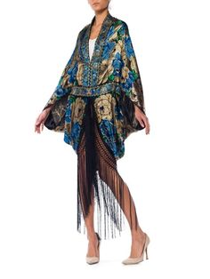 Morphew Collection Blue and Gold Lurex Cocoon with Fringe Gold Lame, Poncho, Vintage Items, Vintage Style, Vintage Outfits, Vintage Dresses, Im Not Perfect, Silk, This Or That Questions