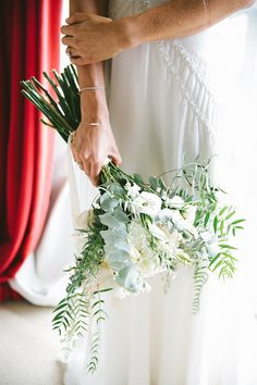Simple green and white long stemmed wedding bouquet