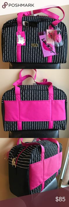 """Betsey Johnson striped travel bag Travel in style with this gorgeous betsey travel bag . Signature Betsey quilted design with stripes . Top zip closure. Height is 13"""" width 19"""" . Has handles and also comes with detachable long strap .. comes with additional cute small zip pouch with Betsey logo .also comes with a cute pink Pom Pom . Betsey Johnson Bags Travel Bags"""