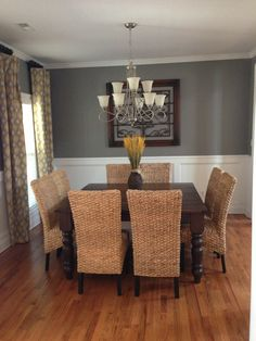 Gray and yellow dining room.
