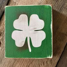 St. Patricks Day Happy Saint Patricks Day Four leaf clover Wooden decor by Kreationsbykellyr on Etsy