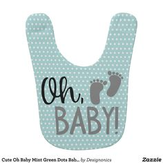 Cute Oh Baby Mint Green Dots Baby Bib
