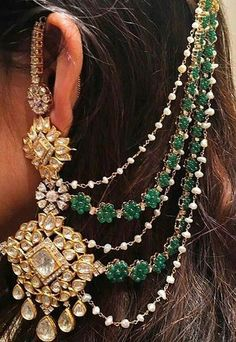 When you spent your allotted budget on your bridal jewelry, it didn't mean that you had to put it away after the wedding. Wearing your bridal jewelry over. Indian Jewelry Earrings, Indian Jewelry Sets, Jewelry Design Earrings, Indian Wedding Jewelry, India Jewelry, Bridal Earrings, Bridal Jewelry, Gold Jewelry, Ear Chain
