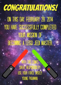 This Practically Perfect Jedi Training Academy certificate will adorn the goody bags.