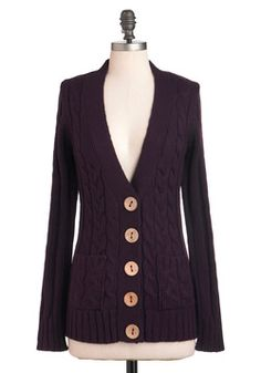 Your Fireside of the Story Cardigan in Plum, #ModCloth