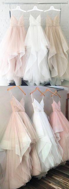 Blush Pink Champagne White Spaghetti Straps V Neck Tulle Princess Ball Gown Wedding Dresses 2018