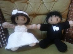 Bride and Groom Doll Wedding Gift Plushie by 59thStreetCreations, $18.00