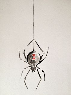 Black Widow Spider Watercolor Painting