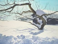 Watercolor painting by Japanese Abe Toshiyuki Painting Snow, Summer Painting, Winter Painting, Stone Painting, Watercolor Trees, Watercolor Landscape, Watercolor Paintings, Abstract Nature, Snow Scenes