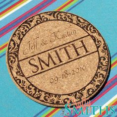 Personalized Laser-Engraved 7 Cork Trivet for Wedding Gifts or Anniversary. $20,00, via Etsy.