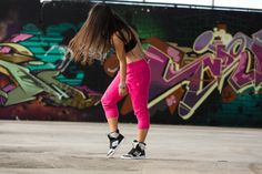 Don't Leave Me Hangin' V-Bra, Fab French Terry Capri Pants and Zumba Street Glam shoes. #zumbawear #fitnesswear #letitmoveyou
