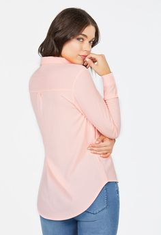 Lace-Up Long Sleeved Shirt Kleidung in Blush - günstig kaufen bei JustFab