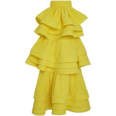 Rosie Assoulin Tiered Zippered Skirt (£4,210) ❤ liked on Polyvore featuring skirts, high-waist skirt, yellow skirt, high-waisted skirts, zipper skirt en zip skirt