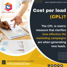 Do you know how to check the effectiveness of marketing campaigns??? CPL or Cost per Lead helps you measure the effectiveness of these campaigns when generating new leads. Digital Marketing and Social Media Marketing can efficiently boat your. Business. #Digitalmarketing #Costperlead #website #MarketingCampaigns #DigitalCreaters #socialmediamarketing #socialmedia #branding #SEO #OnlineMarketing #business #marketingtips #Leads #Advertising #webdesign #instagram #facebook #CPL #instagood