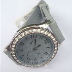 Gray Silicone Watch 2 Available Silicone band with a big face and color matches band with rhinestones. New! Please don't buy this listing I will make you one. Accessories Watches