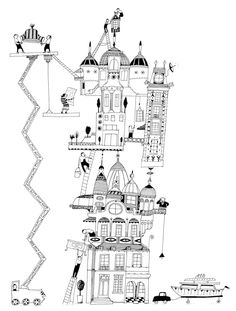 Looks like something you'd like, Hector House Illustration, Digital Illustration, Graphic Illustration, Illustrations, House Drawing, City Art, Architecture, Graphic Design, Black And White