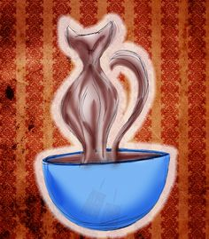 It's #caturday - Wisps of steam twist to cat shapes... What my #coffee says to me Feb 25 Hommage au chat!