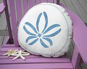 Blue sand dollar pillow outdoor indoor coastal beach seashore shelling beachcombing cabin cottage seashell urchin echinoderm