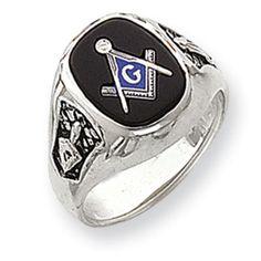 14k White Gold Men's Fraternity Mason Ring