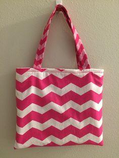 Hot Pink Chevron - Girls Tote, $18.00