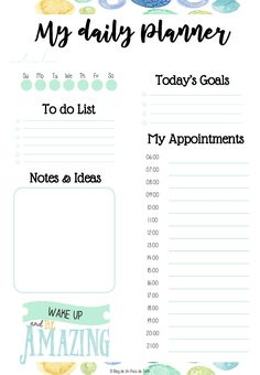 Free Daily Planner Printable  Day To Day Planner Template Free