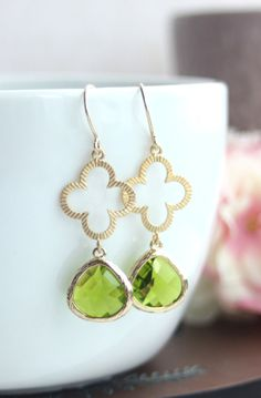 Four Leaf Clover Earrings. Lucky 4 Leaf Gold Green