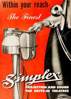 simplex drive-in theater speakers 1949 by Captain Geoffrey Spaulding, via Flickr