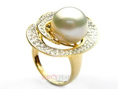 White Cultured South Sea Pearl Ring , 11mm-12mm , AA+, 5000-NWH126 | ShecyPearls Ring