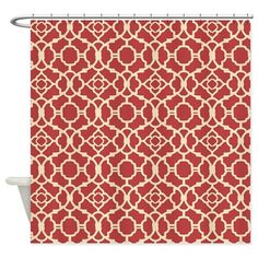Red and Cream Vintage Damask Pattern Shower Curtai on CafePress.com