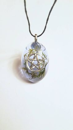 Pentacle Symbol Real Moss Nature Necklace Resin Pendant Pagan Wiccan Spiritual Bohemian Jewelry PrismGypsy    Check out this item in my Etsy shop https://www.etsy.com/listing/496442649/pentacle-symbol-real-moss-nature