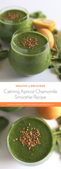 Calming Apricot Chamomile Smoothie on Green Blender Yummy Smoothie Recipes, Healthy Smoothies, Healthy Drinks, Fat Burning Smoothies, Weight Loss Smoothies, Juice Smoothie, Smoothie Bowl, Apricot Season, Flaxseed Smoothie