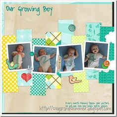 Baby Scrapbook Layout with Monthly Pictures ... Scraps would work great in a layout like this.