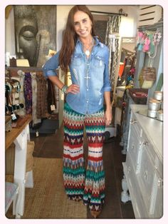 Rust & Teal Tribal Palazzo Pant   Pretty Rebellious Boutique $48