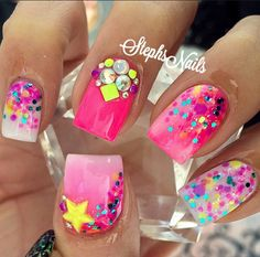 Top Nails Design My Second Favorite Bright Nails, Funky Nails, Sparkle Nails, Bling Nails, Pretty Nail Designs, Nail Art Designs, Nails Design, Gorgeous Nails, Pretty Nails