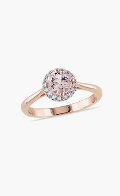 Morganite & Diamond Halo Frame Ring