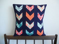 Broken Chevron Modern Quilted Pillow by StudioPaprika on Etsy, $40.00