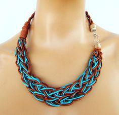 Collar de cuerda trenzado Color Block declaración collar por vess65