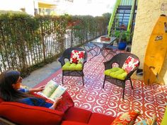 Designers at Design Vidal created an outdoor carpet at this East Hollywood apartment complex using a hand-cut stencil. Painted Floors, Painting Tile, Outdoor Rooms, Painted Patio, Outdoor Carpet, Diy Painting, Painting Cement, Stencil Concrete, Deck Paint