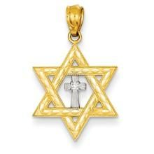 Diamond with Rhodium Star of David with Cross Charm in 14k Gold