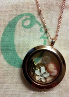 Origami Owl Medium Rose Gold Locket with vintage charms