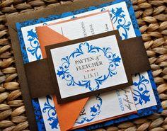Convite de casamento em azul e laranja   Wedding invitations in orange and blue - gorgeous!