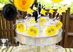 While I try to get back into the swing of things I have a cute Bike Themed birthday party to share with you from Katie of Petite Social. The party … Bicycle Birthday Parties, Bicycle Party, Dirt Bike Party, Birthday Party Drinks, 50th Party, Party Food And Drinks, 6th Birthday Parties, Party Logo, Party Names
