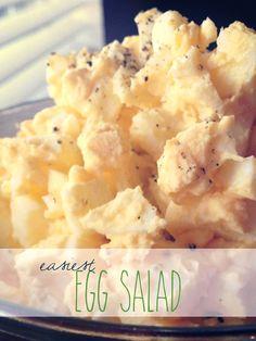 Easiest Egg Salad they say 3 tbsp mayo 1 tbsp mustard 8 boiled eggs Salt and pepper to taste