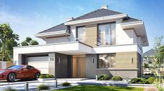 Oszust 2 - zdjęcie 2 One Storey House, 2 Storey House Design, Bungalow House Design, Minimalist House Design, Modern House Design, Morden House, House Plans Mansion, House Construction Plan, Best Architects